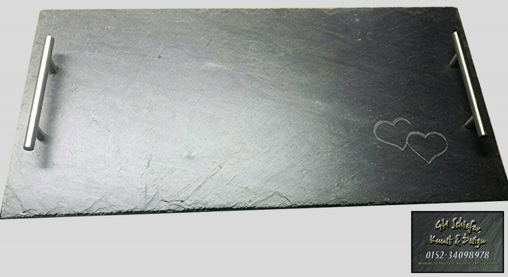 Servierplatte, Buffetplatte aus Schiefer mit Edelstahlgriff und Gravur