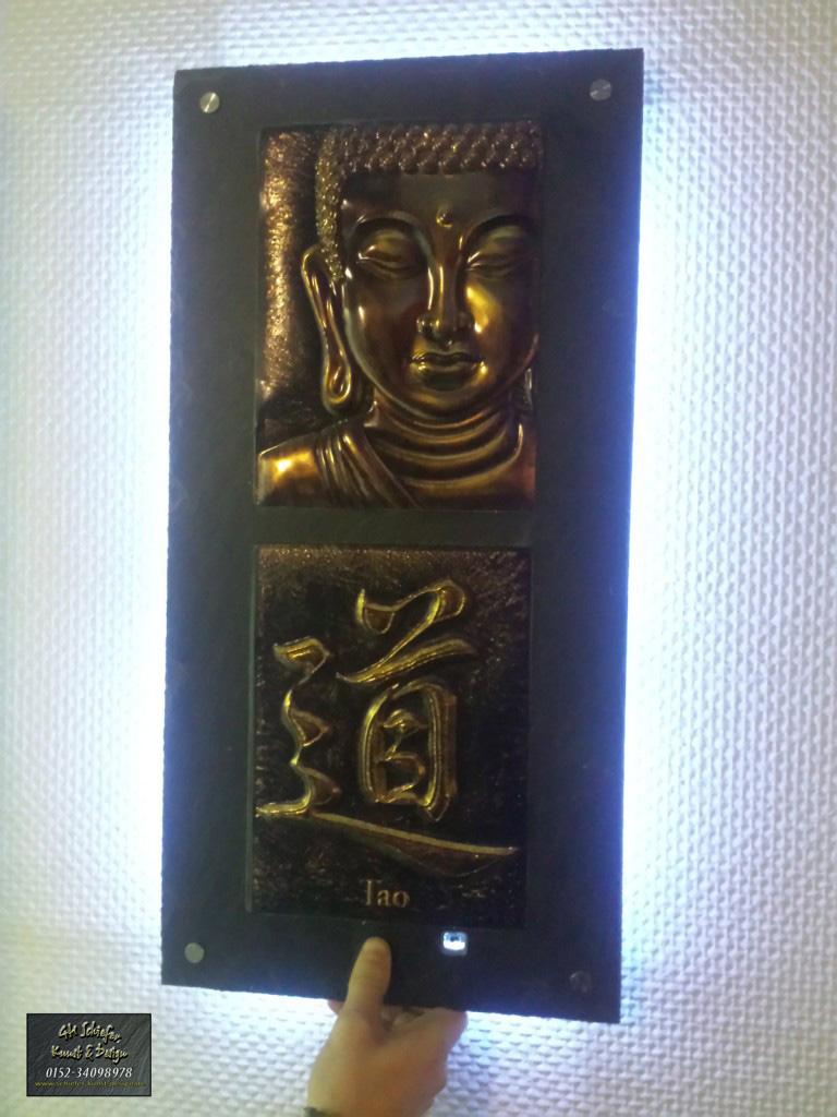 Buddha Dekoplatte mit Hinterleuchtung aus Schiefer