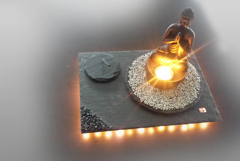 Buddha Teelichthalter mit Unterleuchtung