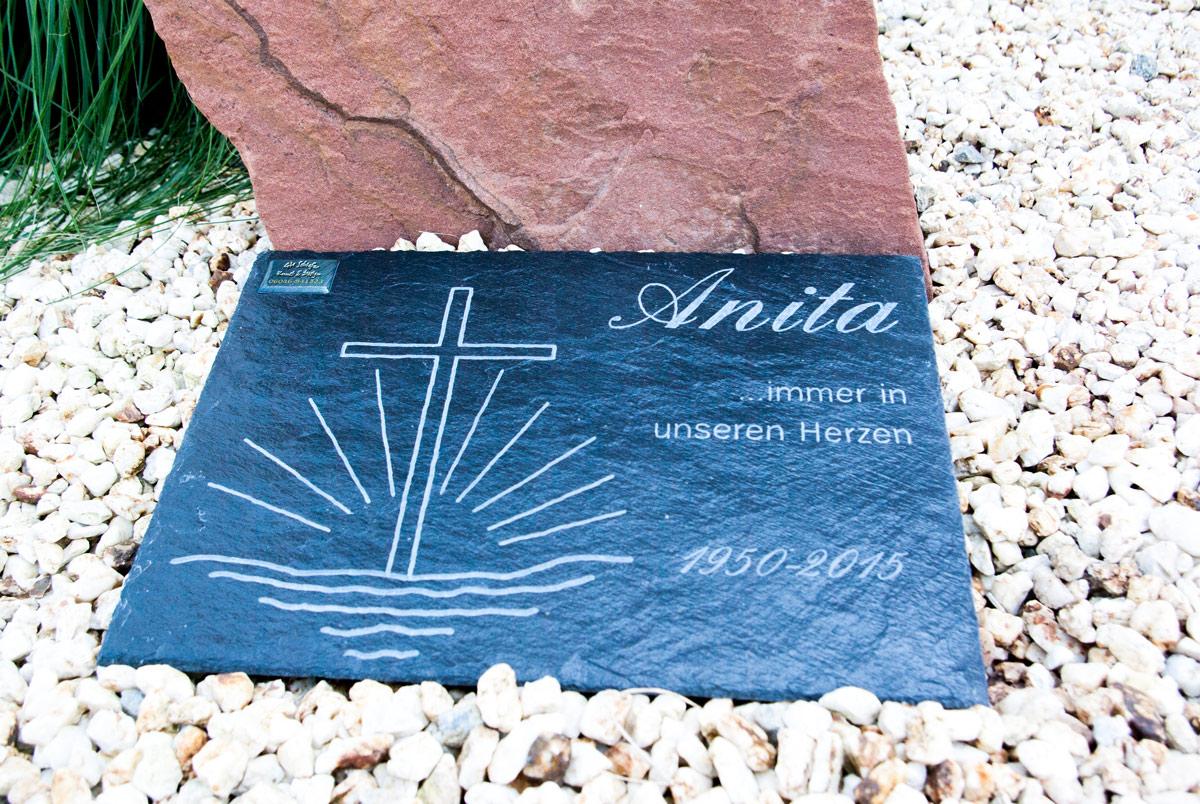 Grabsteinplatte, Gedenkplatte Anita