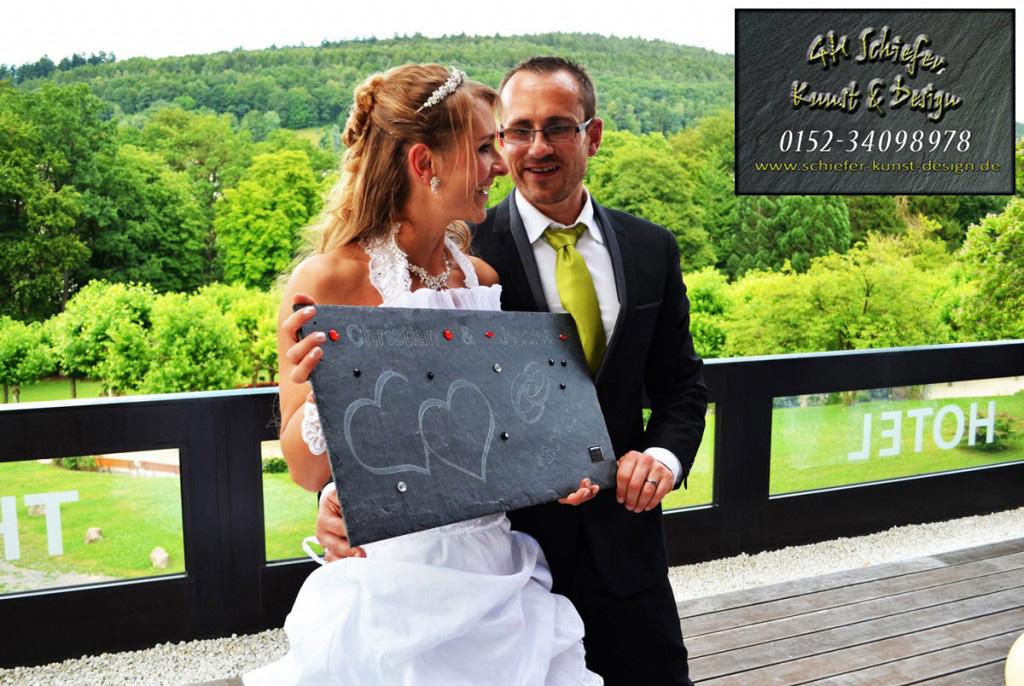 Geschenkidee aus Schiefer zur Hochzeit