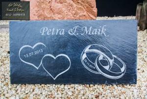 Hochzeitsgeschenk - Hochzeitsplatte Petra und Maik mit Gravur