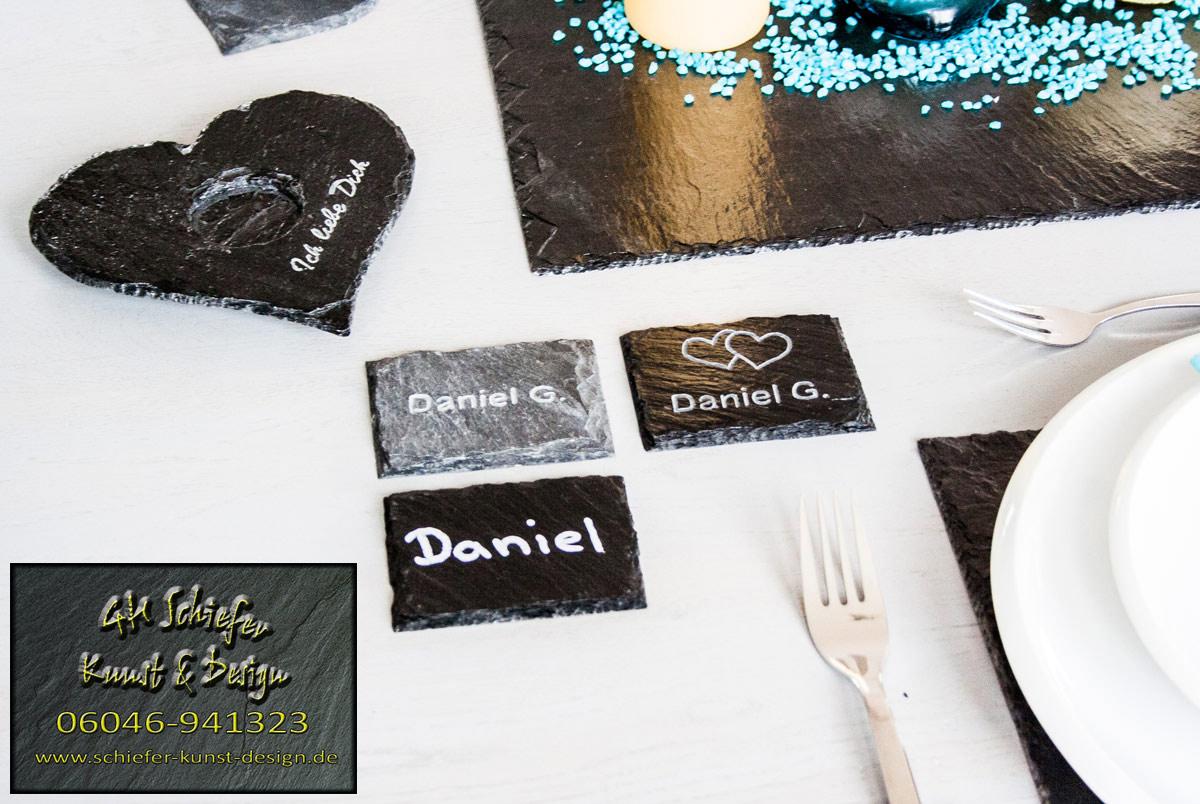 Schiefer Namenschilder, Namenskarten, Platzkarten