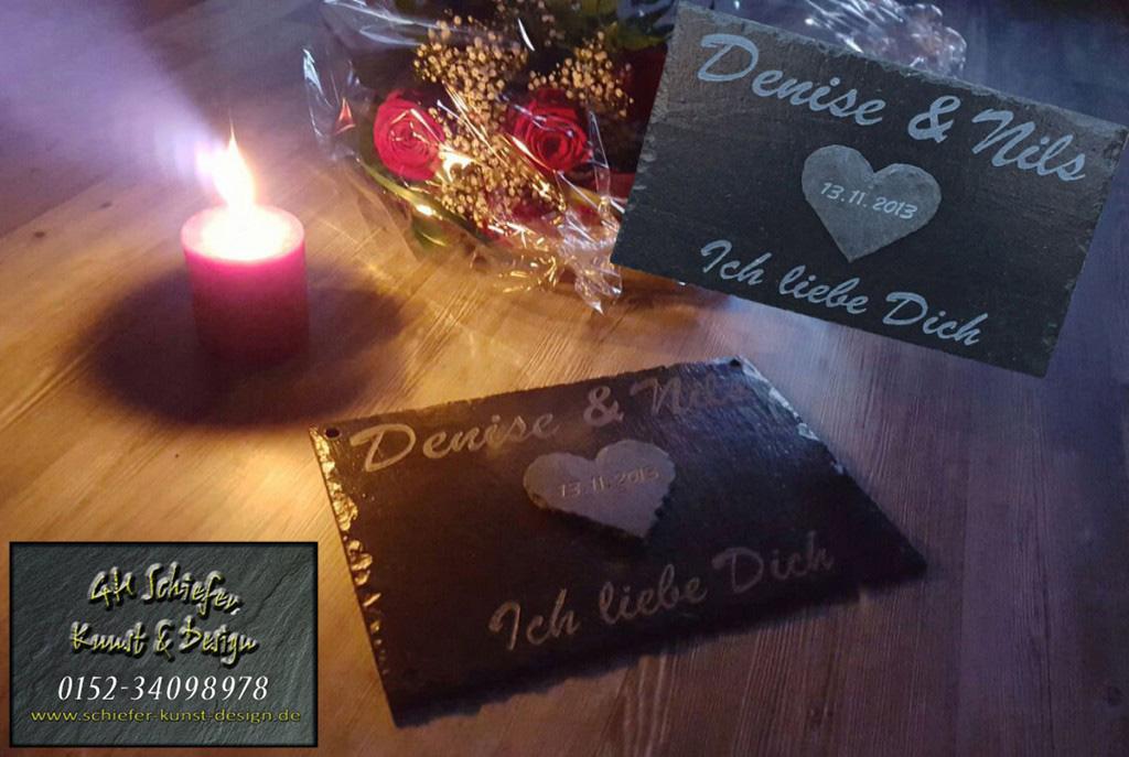 Schiefer Partnerplatte zum Valentinstag, Jahrestag, Hochzeitstag