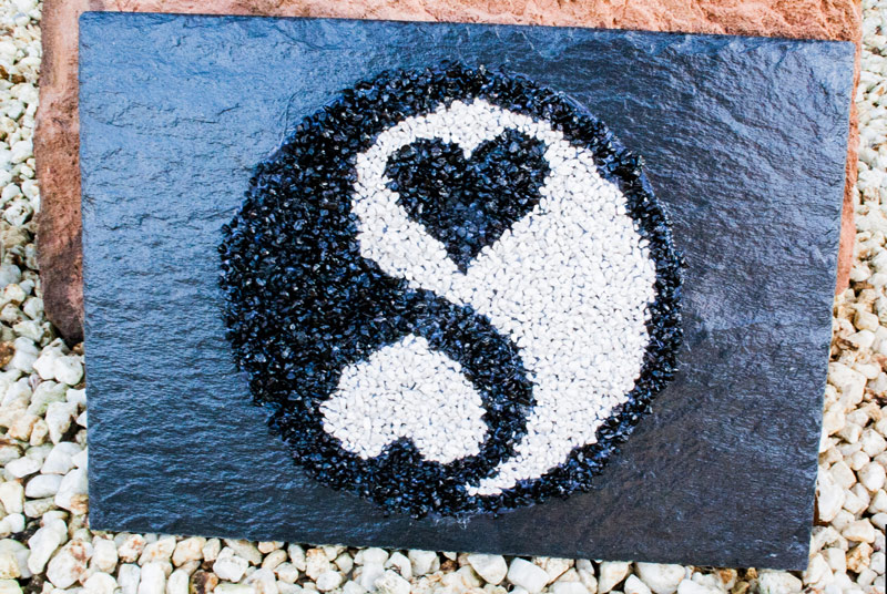 Schieferplatte Ying & Yang der Liebe - Geschenkidee