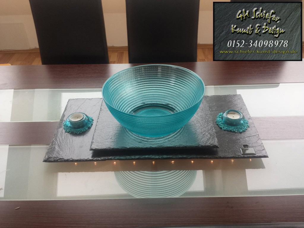 Schiefer Tischdeko Schüssel, Kerzenhalter