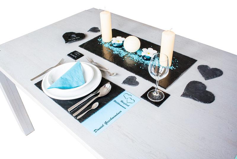 Tischdeko tischset platzset dekoration auf ihrem for Schiefer deko