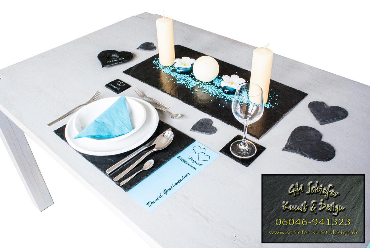 Tischset,-Tischdeko aus Schiefer