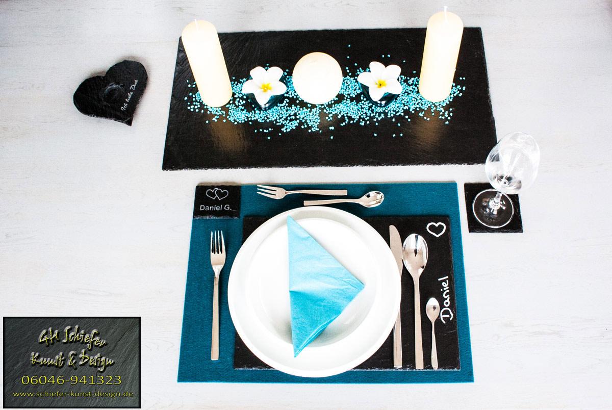 Schiefer Tischset, Tischdeko mit Filzunterlage