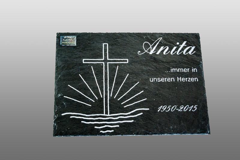Grabsteinplatte, Grabstein aus Schiefer mit Gravur 25 x35 Anita