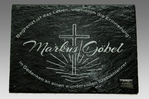 Trauerplatte, Gedenkplatte, Grabsteinplatte aus Schiefer