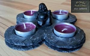 Kerzenhalter bzw. Teelichthalter mit Buddha als Raumdeko, Tischdenk