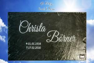 Schiefer-Grabsteinplatte mit Gravur