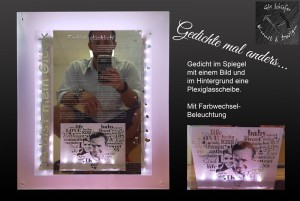 Gravur-Spiegel, Motivspiegel mit Gedicht und Foto, sowie Hinterleuchtung