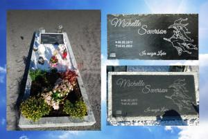 Grabsteinplatte aus Schiefer - Grundplatte aus Granit