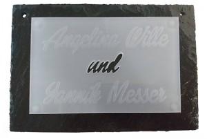 Schiefer-Plexiglas Türschild