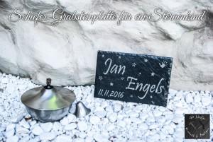Grabsteinplatte aus Schiefer für ein Sternenkind