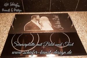 Servierplatte, Tablett, Buffetplatte mit Bild und Text Gravur