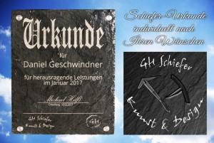 Urkunde auf Schiefer graviert mit individuellen Namen und Texten