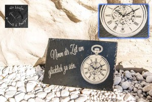 Bild von einer Uhr/Taschenuhr & Text