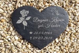 Grabsteinplatte als Herzform