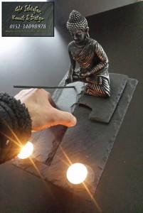 Schiefer Buddha Teelicht und Räucherstäbchenhalter