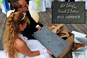 Schiefertafel mit Gravur als Geschenkidee zur Hochzeit