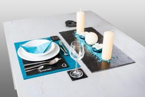 edles Tischset, Platzset. Tischdeko aus Schiefer die den Tisch aufwertet. Für zu Hause oder als Geschenk