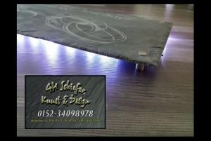 Hochzeit Schieferplatte mit Gravur und Hinterleuchtung