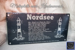 Motivplatte aus Schiefer mit Gedicht und 2 Leuchttürmen
